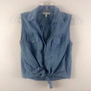 💘 Delia's Tie Front Pearl Snap Chambray Denim Top